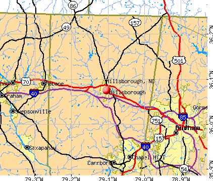 Hillsborough, NC map
