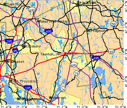 Taunton, MA map
