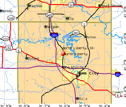 North Liberty, IA map