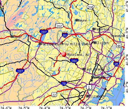 Roseland, NJ map