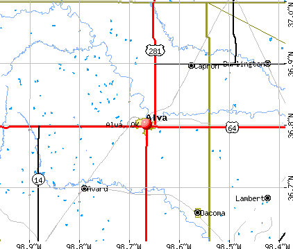 Alva, OK map