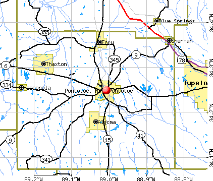 Pontotoc, MS map