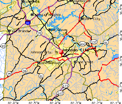 Johnson City, TN map