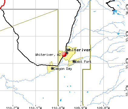 Whiteriver, AZ map