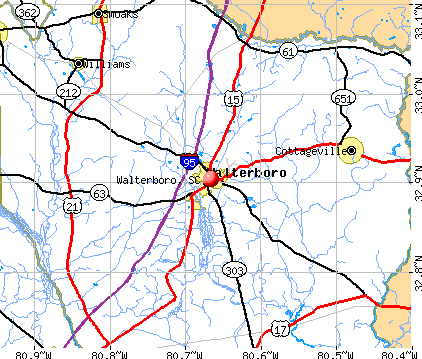Walterboro, SC map
