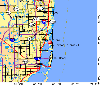 Bay Harbor Islands, FL map