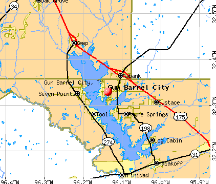 Gun Barrel City, TX map