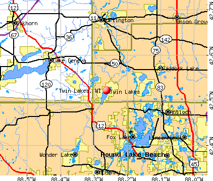 Twin Lakes, WI map
