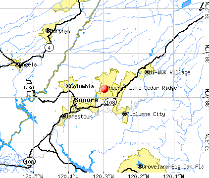 Phoenix Lake-Cedar Ridge, CA map