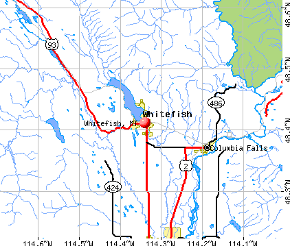 Whitefish, MT map