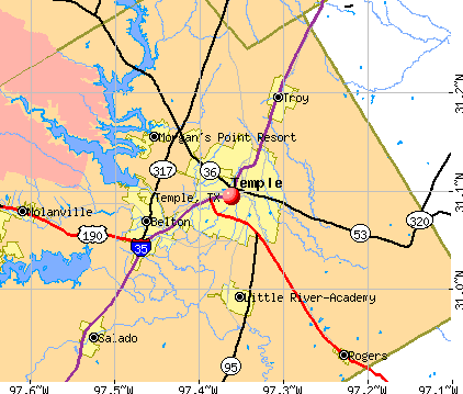 Temple, TX map