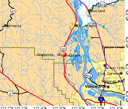 Scappoose, OR map