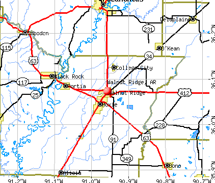 Walnut Ridge, AR map
