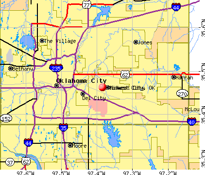Midwest City, OK map