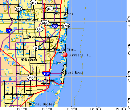Surfside, FL map