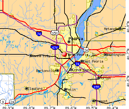West Peoria, IL map