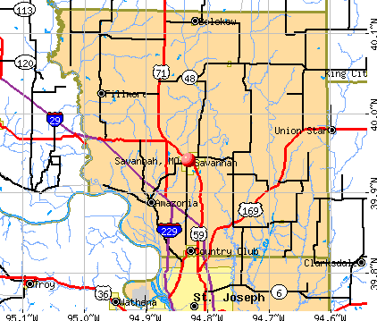 Savannah, MO map