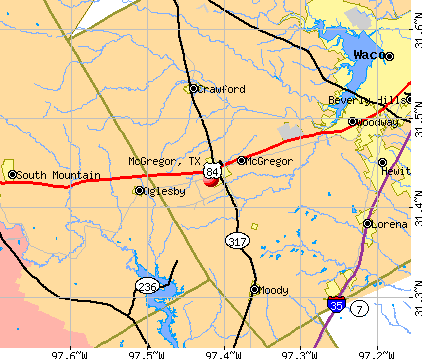 McGregor, TX map