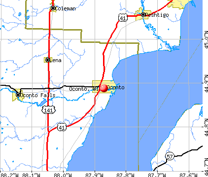 Oconto, WI map