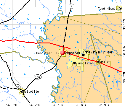 Hempstead, TX map
