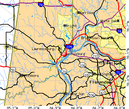 Lawrenceburg, IN map