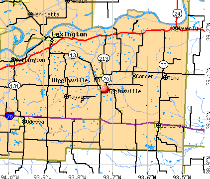 Higginsville, MO map