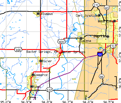 Baxter Springs, KS map