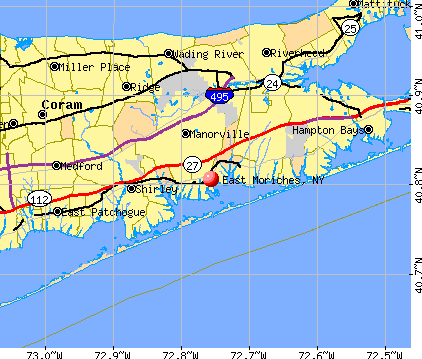East Moriches, NY map