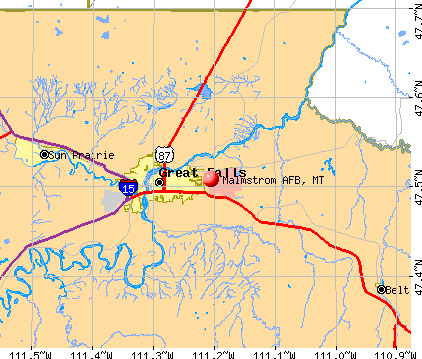 Malmstrom AFB, MT map