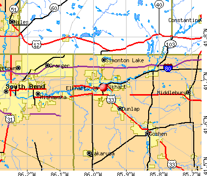 Elkhart, IN map