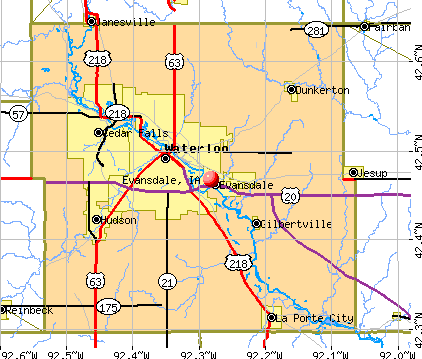Evansdale, IA map