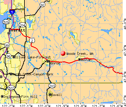 Woods Creek, WA map