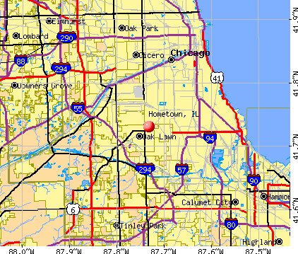 Hometown, IL map