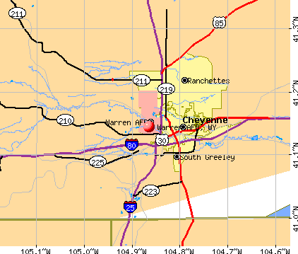 Warren AFB, WY map