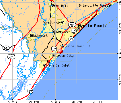 Surfside Beach, SC map