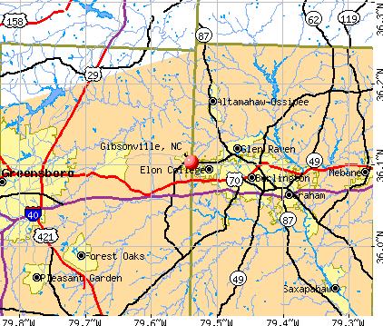 Gibsonville, NC map