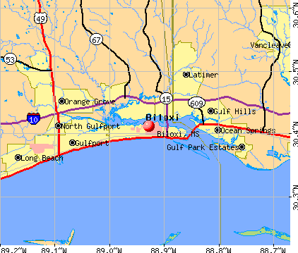 Biloxi, MS map