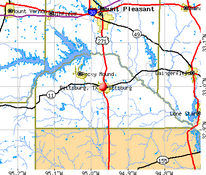 Pittsburg, TX map