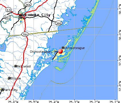 Chincoteague, VA map