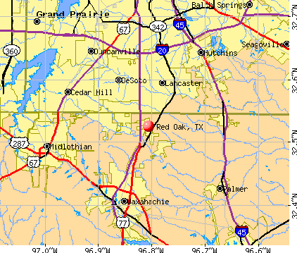 Red Oak, TX map