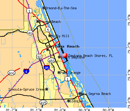 Daytona Beach Shores, FL map