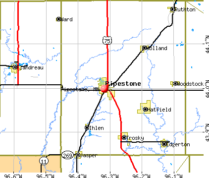 Pipestone, MN map