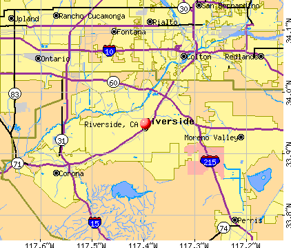 Riverside, CA map