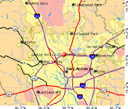 Castle Hills, TX map