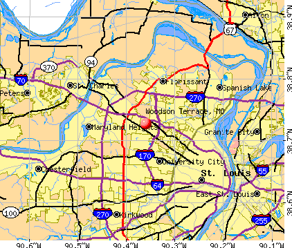 Woodson Terrace, MO map