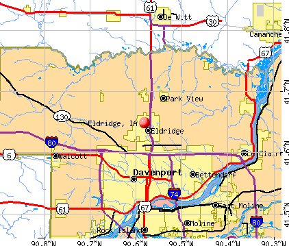 Eldridge, IA map