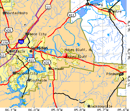 Hokes Bluff, AL map