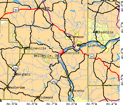 Wellsville, OH map