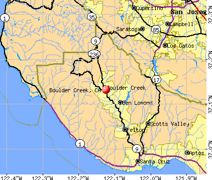 Boulder Creek, CA map