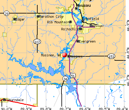 Mosinee, WI map